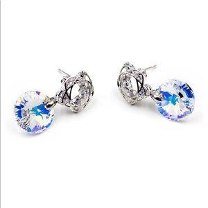 Shiny beautiful flowers crystal earrings